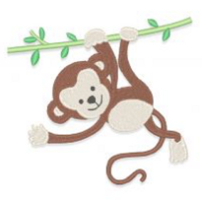Monkey On Vine Embroidery Design