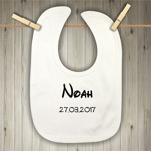 Personalised Baby Bib - Name and Date of Birth