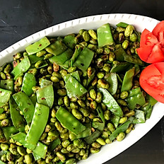 Pan Seared Edamame and Snow Peas