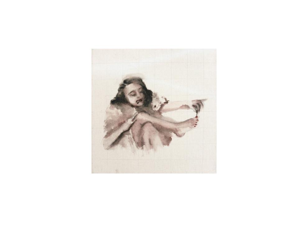 Frau mit Zigarette und Nagellack_woman with cigarette and nailpolish, 2011, 30 x 30 cm