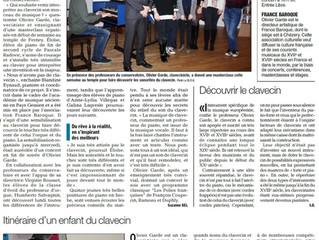 Un article très bien écrit paru samedi dans le Dauphiné Libéré.pour notre classe de maître au conser