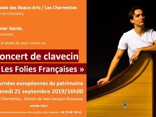 Journées européennes du patrimoine / Clavecin le 21 septembre chez Rousseau