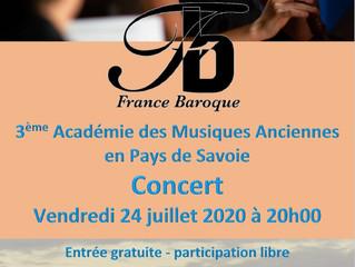 Concert gratuit vendredi 24 juillet: Académie de musique ancienne en Pays de Savoie