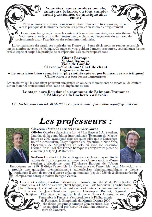 Stage de clavecin du 28 juillet au 4 aout 2018, professeurs : Olivier Garde & Stefano Intrieri, Abbaye de la Rochette (Savoie)