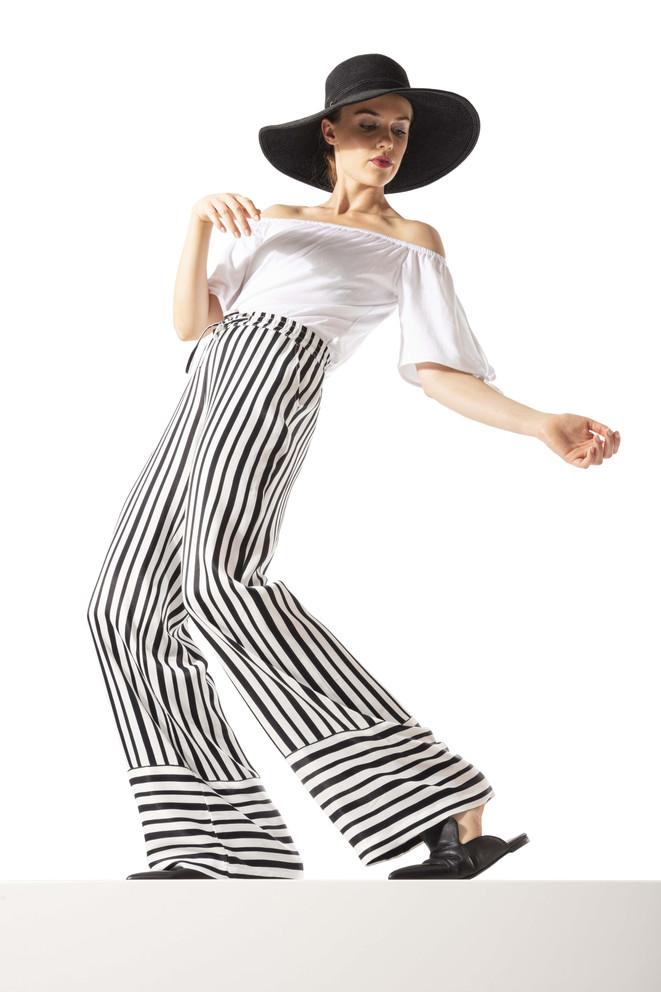 Trappered Pants Wide Leg Stripes-stark h