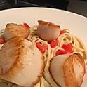 Jumbo Scallops over Roasted Garlic Scampi Pasta