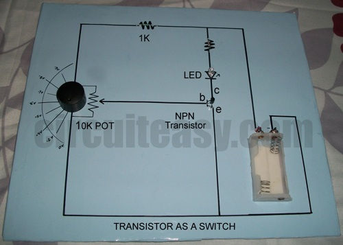 Transistor as a Switch Project with circuit diagram