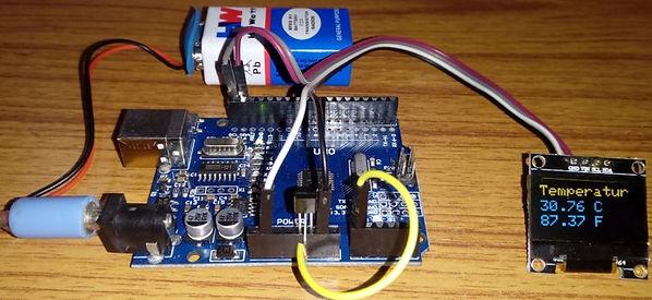 Heat Sensor Project using latest OLED, LM35 heat sensor