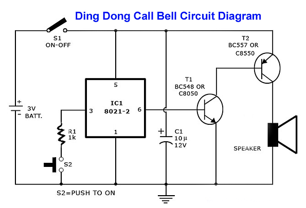 Ding Dong Bell Circuit Diagram IC 8021