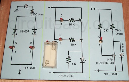 Simple Project Circuit to make OR gate, AND Gate, NOT Gate, best calss12 Project