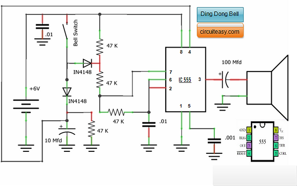 Ding Dong Bell Circuit Diagram using IC 555