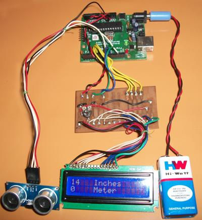 distance measurement using ultrasound. Uses Arduino UNO, 2X16 LCD, Ultrasonic sensor HC-SR04