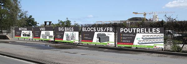 creation panneaux reunion pour Prefabloc réalisés par le Studio Oxygène agence de pub à la Réunion