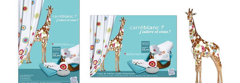 creation annonce presse pour Carré Blanc réalisée par le Studio Oxygène agence de pub à la Réunion