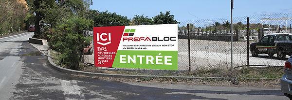 creation panneau reunion pour Prefabloc réalisé par le Studio Oxygène agence de pub à la Réunion