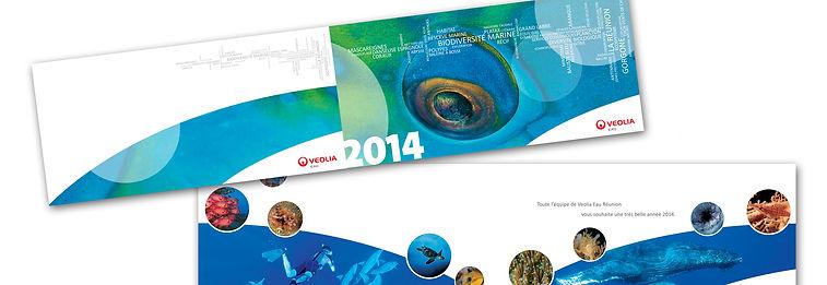 creation carte de voeux reunion pour Véolia réalisée par le Studio Oxygène agence de pub à la Réunion