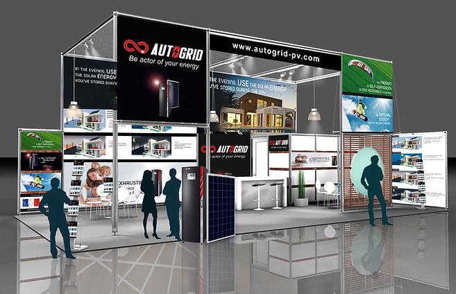 creation stand salon reunion pour Autogrid réalisé par le Studio Oxygène agence de pub à la Réunion