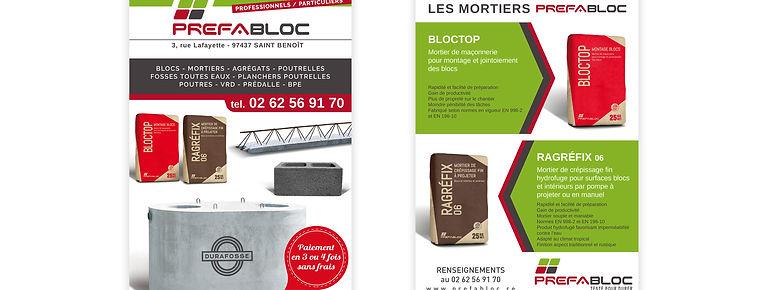 creation flyer reunion pour Prefabloc réalisé par le Studio Oxygène agence de pub à la Réunion