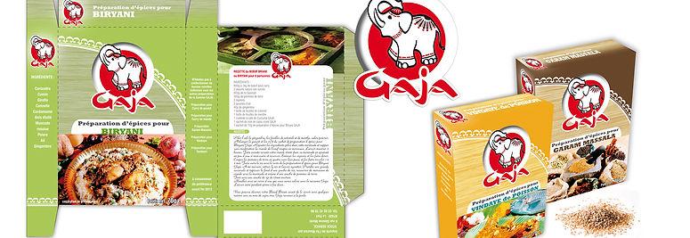 creation packaging reunion pour Gaja épices réalisé par le Studio Oxygène agence de pub à la Réunion