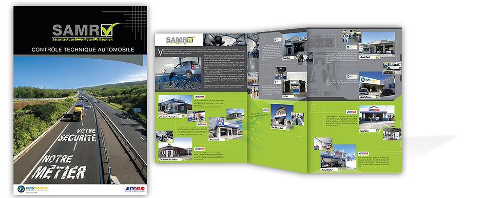 creation plaquette reunion 3 volets pour SAMR réalisée par le Studio Oxygène agence de pub à la Réunion