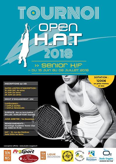 creation affiche reunion pour Hermitage Académie Tennis Club réalisée par le Studio Oxygène agence de pub à la Réunion