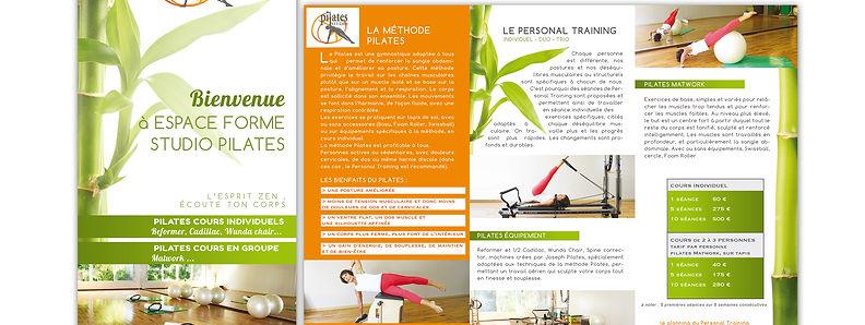 creation dépliant reunion pour Espace Forme Pilates réalisé par le Studio Oxygène agence de pub à la Réunion