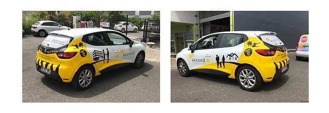 creation covering reunion pour Accord Immobilier réalisé par le Studio Oxygène agence de pub à la Réunion