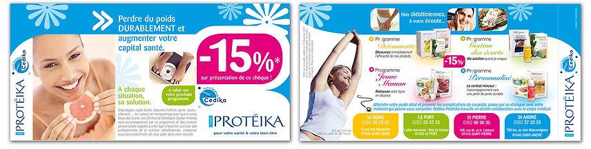 creation chèque annuaire reunion pour Protéika réalisée par le Studio Oxygène agence de pub à la Réunion