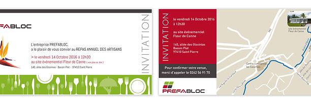 creation carton d'invitation reunion pour Prefabloc réalisée par le Studio Oxygène agence de pub à la Réunion
