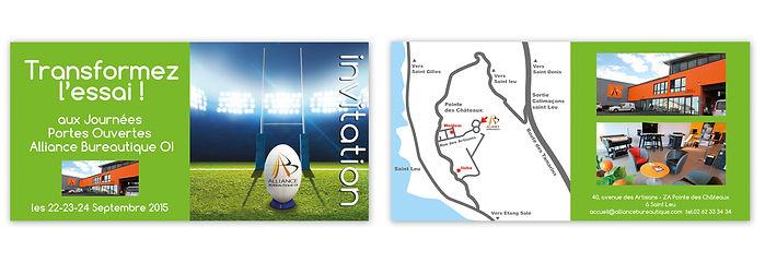 creation carton d'invitation reunion pour Alliance Bureautique réalisée par le Studio Oxygène agence de pub à la Réunion