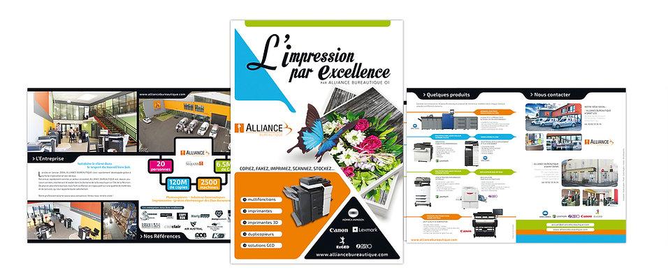 creation plaquette reunion 3 volets pour Alliance Bureautique réalisée par le Studio Oxygène agence de pub à la Réunion