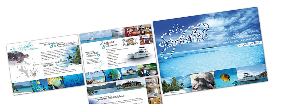 creation dépliant reunion pour Croisière Seychelles réalisé par le Studio Oxygène agence de pub à la Réunion