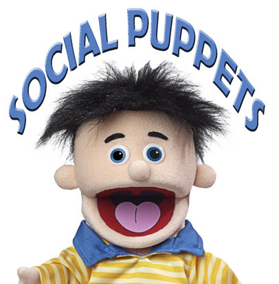 Social Puppets (USB stick of data and two puppets)