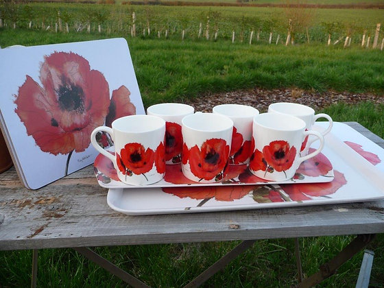 Red Poppy China Mugs