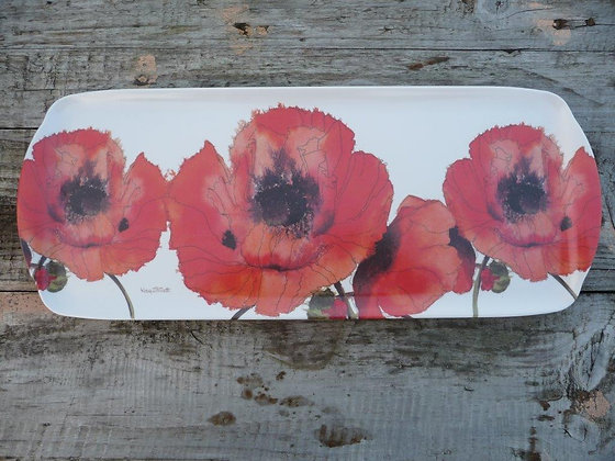 Red Poppy Melamine Long Tray