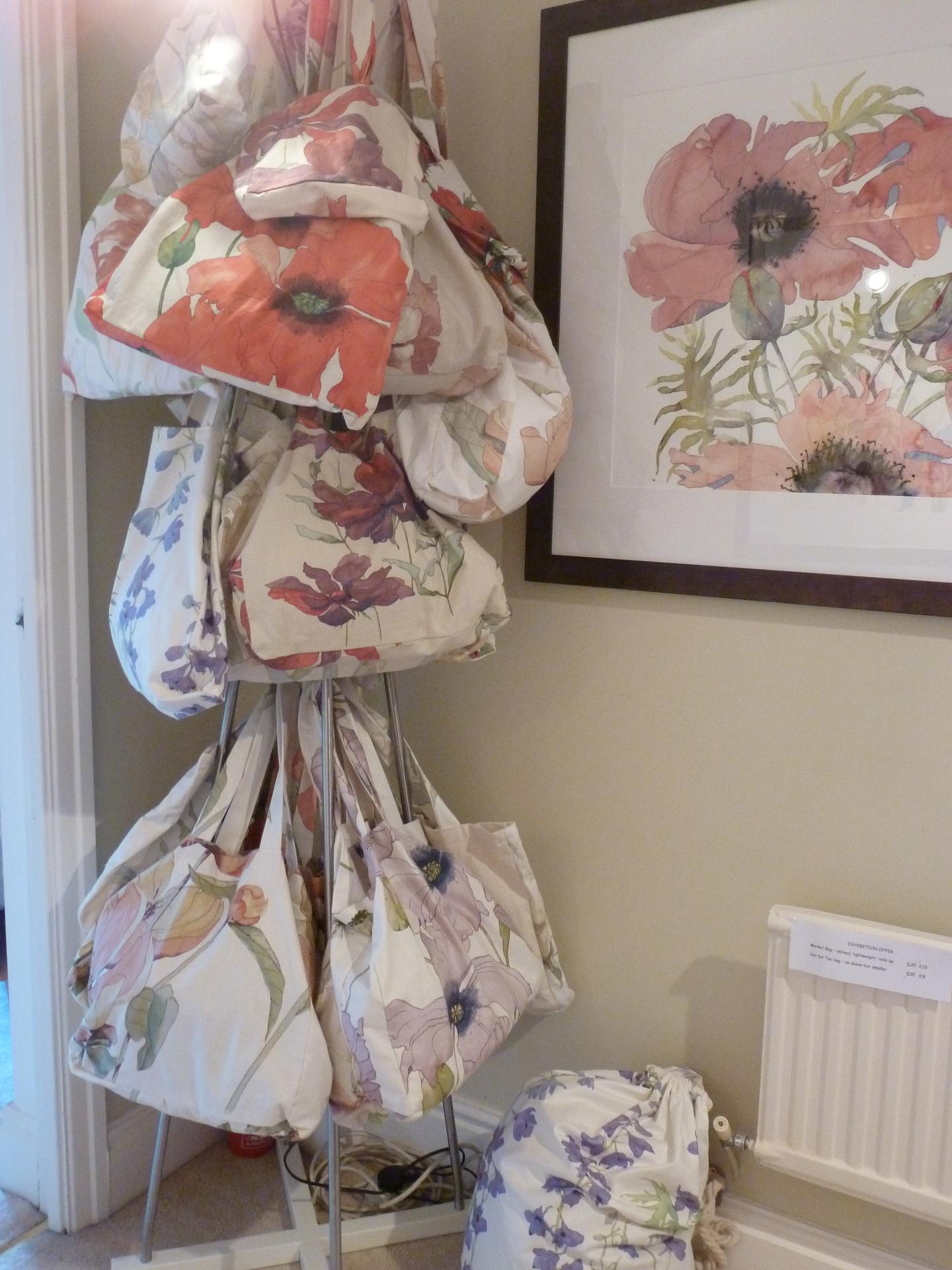 Kay's fabrics made into bags
