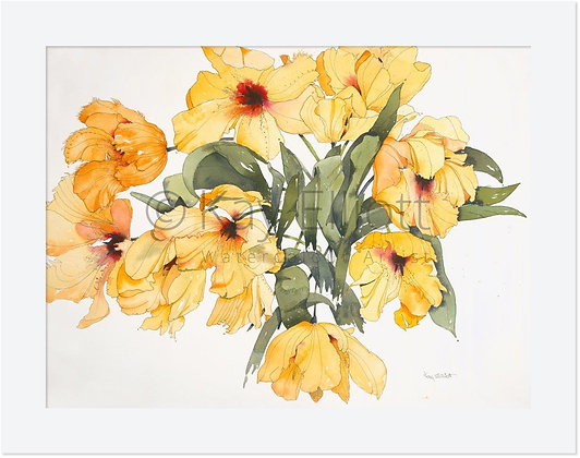 Golden Parrot Tulips - Original Painting