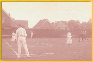 Doherty receiving in a mixed doubles Tournament at East Grinstead, England, ca. 1897