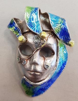 joli masque vénitien en argent 999 avec émaux,
