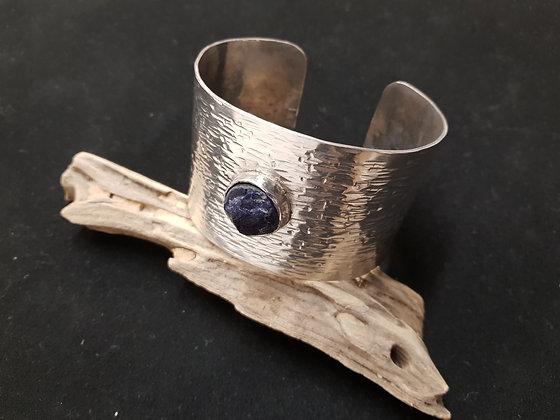 bracelet large en argent 925 avec un sodalith