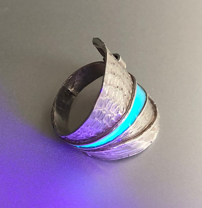 Bague en argent 925 avec partie fluorescente, bleu