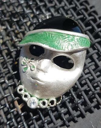 masque modern en argent 999 avec émaux