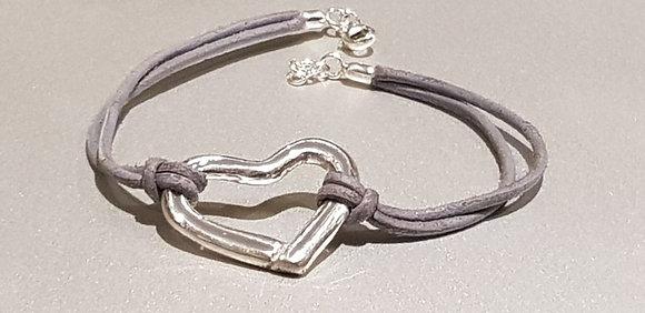 bracelet en cuir, coeur en argent 999, fluo