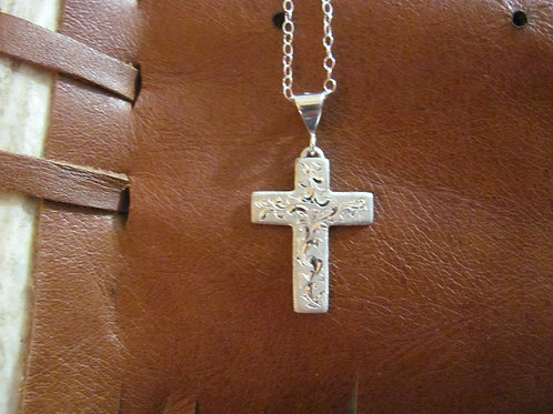 Engraved Sterling Silver Cross Pendent (small)