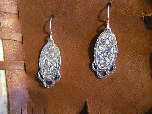 Tear Drop Engraved Dangle Earrings