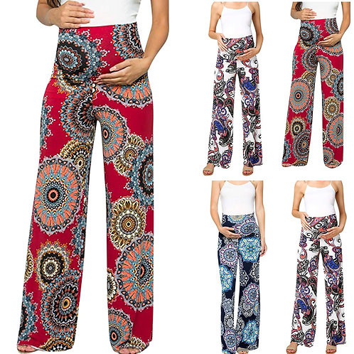 High waist wide straight lounge pants for pregnant mom