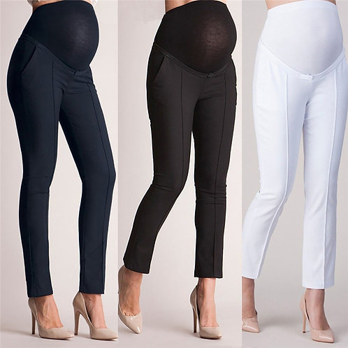High Waist Maternity Elastic Trouser Pants for Belly Protection
