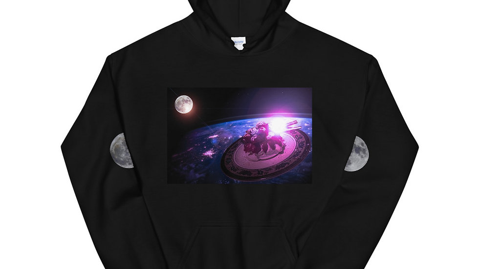 Space Saucer and Moon Unisex Hoodie