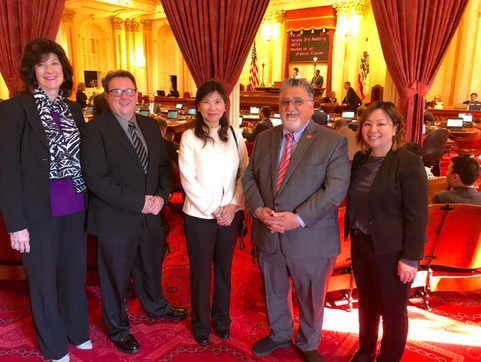 Leaders with Senator Portantino on Senate Floor