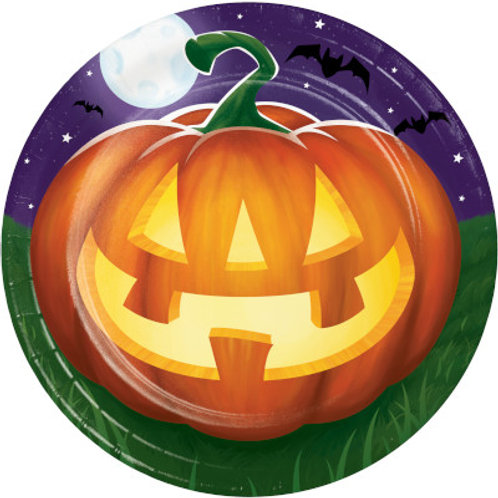 Creative Converting Glowing Pumpkins, 7 Inch Round Paper Plates, Box of 96